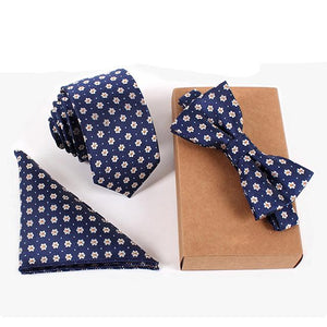 Printed Sets: Neck Tie, Slim Bow Ties, Handkerchief (Various Design & Color Choices)