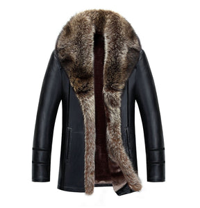 Leather Coat with Raccoon Fur Winter (Various Color & Size Choices)