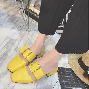 Buckle Leather Sandals / Closed Square Toe (Various Color Choices)