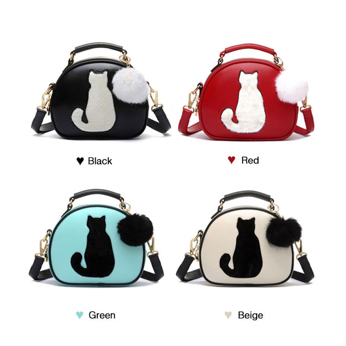 Cat With Fur PomPom Ball Crossbody PU Leather Handbag (4 Color Choices!)