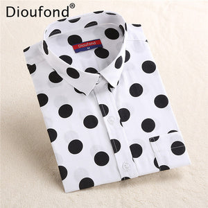 Polka Dot Long Sleeve Pocket Blouse with Plus Sizes (Various Color Choices)
