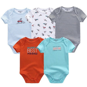 5PC Collection of Short Sleeve Cotton Baby Rompers (3-12M Sizing & Various Color/Pattern Choices)