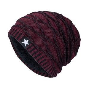 Star Knitted Fleece Beanies (Various Color Choices!)