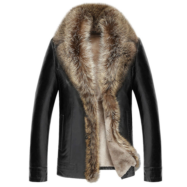 Lambswool Composite Leather Jacket with Thick Raccoon Fur Collar (Various Color & Size Choices)