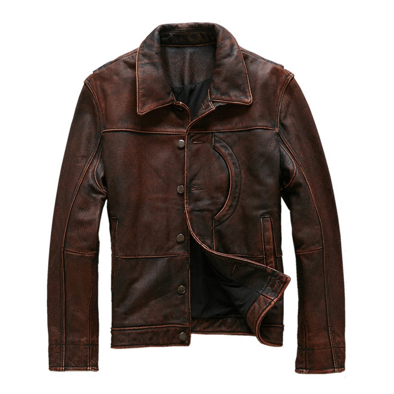 Vintage Brown Genuine Cowhide Leather Jacket / Single Breasted / Plus Sizes XXXL