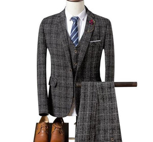Three-piece Single Breasted Tweed Suit (Various Color Choices)
