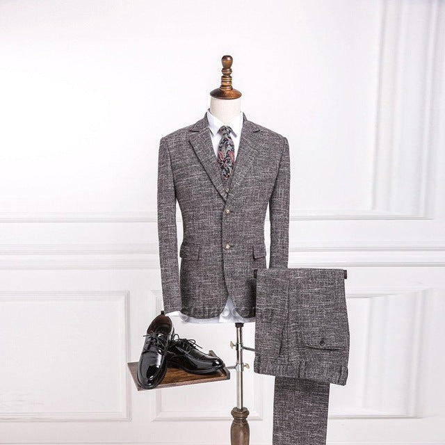 Wool Suits Classic Tweed Slim Fit 3 Piece