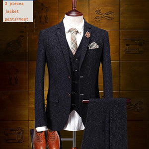 Modern 3-Piece Single Breasted Cotton Suit (Thin Lapels)