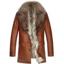 Genuine Sheepskin Long Leather Jacket w/Real Raccoon Fur liner and Collar