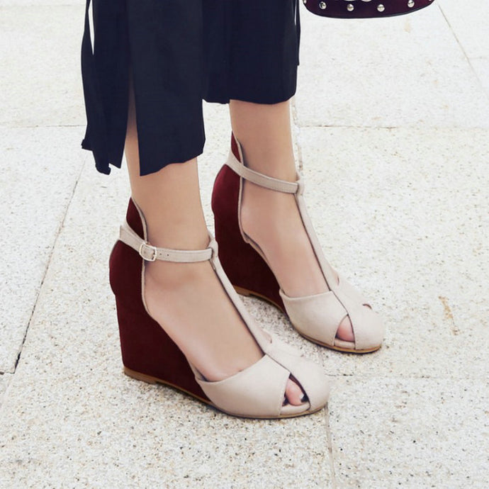 Two-toned T-strap, Closed Toe Wedge Sandals (Burgundy or Navy!)