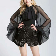 Bow Knot Tulle Transparent Chiffon Blouse w/Lantern Sleeves (Black or White)