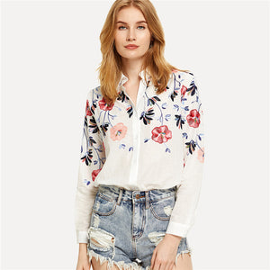 White Floral Embroidered Long Sleeve Button Up Blouse