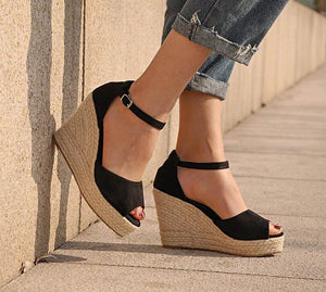 Bohemian Ankle Strap Straw Platform Wedges (Various Color Choices)