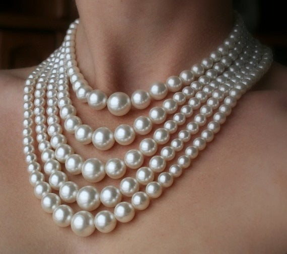 Chunky 5 strand Faux Pearl Necklace