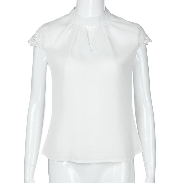 Chiffon white blouse w/short, lace sleeves
