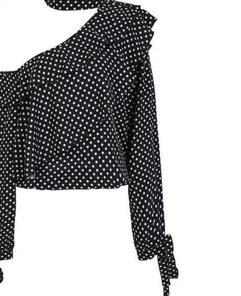 Chiffon One Shoulder Retro Polka Dot Blouse with Lantern Sleeve (Several Color Choices!)