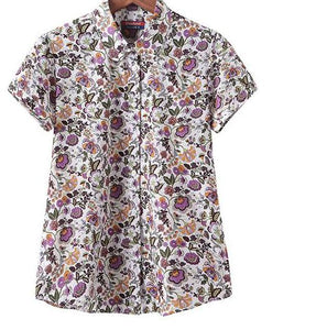 Cotton Short Sleeve Printed Blouse with Plus Sizes (Various Pattern Choices)