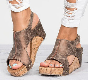 Open Toe Wedge Sandals (Various Color Options!)