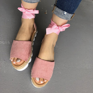 Ankle Strap Peep Toe Flat Sandals  (Various Color Choices)