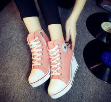 Lace-Up Canvas Platform Shoes (Various Color Choices)