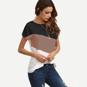 Patchwork Short Sleeve Casual Tees (Various Color Choices)