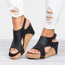 Platform Leather Wedge Sandals (Various Color Choices)