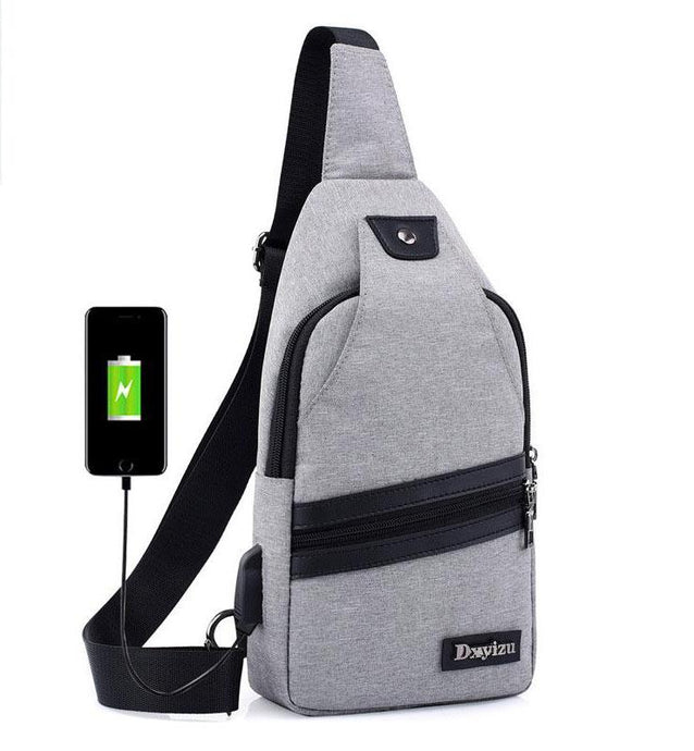 Canvas Chest Bag w/USB Charging Interface (Various Color Options)