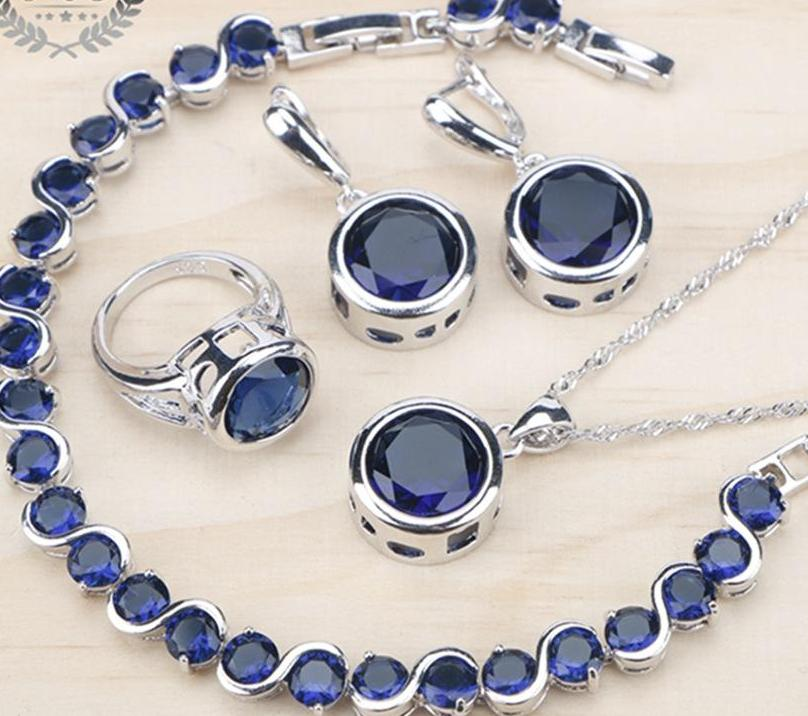 Blue Cubic Zirconia Set: Ring/Bracelet/Earrings/Pendant Necklace in a gift box (Various ring sizes)