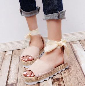 Canvas Open-toe Ankle Wrap Sandals (Various Color Choices!)
