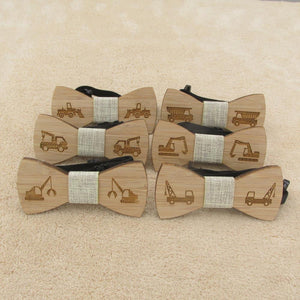 Children Wood Bow Ties with Various Construction Truck Designs