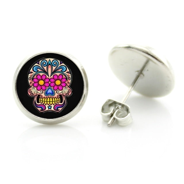 Sugar skull stud earrings ☠️🌺☠️