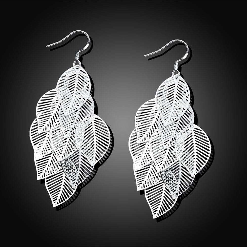 Leaf Drop Earrings in White Gold