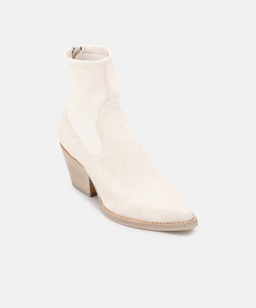 Shanta Bootie in White Embossed Leather
