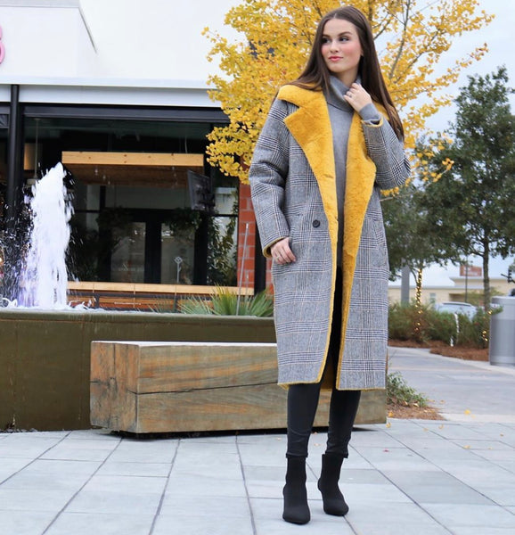 Yellow Fur Plaid Coat