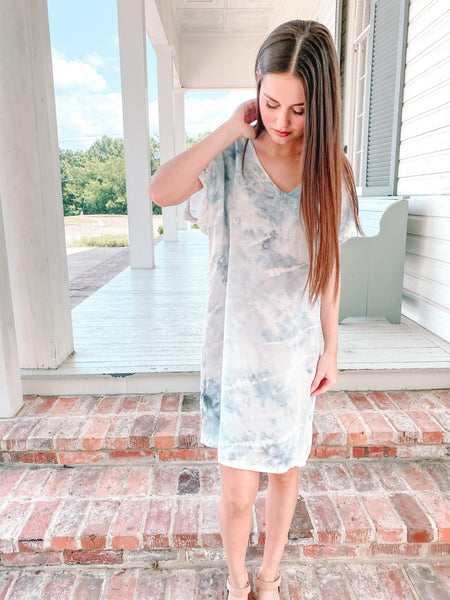 Silk Tee Dress - Faint Blue