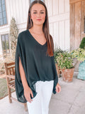 Statement Throw Blouse - Black