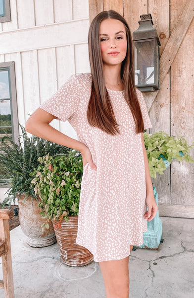 Rose Water Leopard Tee Dress
