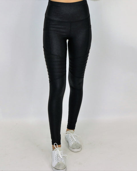 Faux Pebble Leather Moto Legging
