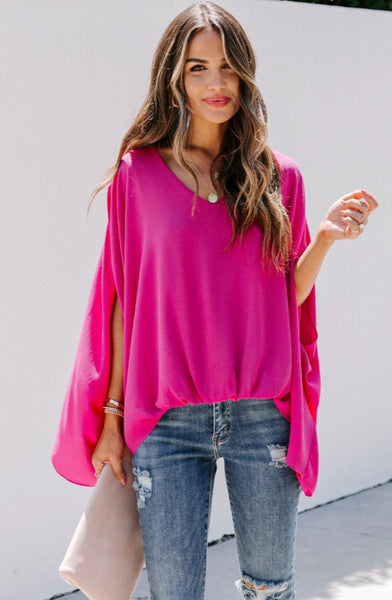 Statment Throw Blouse - Fuschia