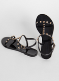Black Stud Strappy Sandals