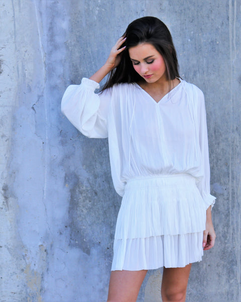 White Pleated Skirt Mini Dress