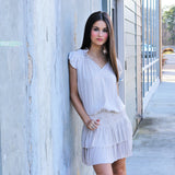 Pleated Skirt Mini Dress - Ecru