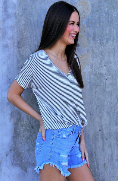 Twist Front Stripe Tee