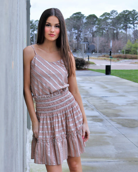 Metallic Striped Tiered Skirt with Smocked Waist
