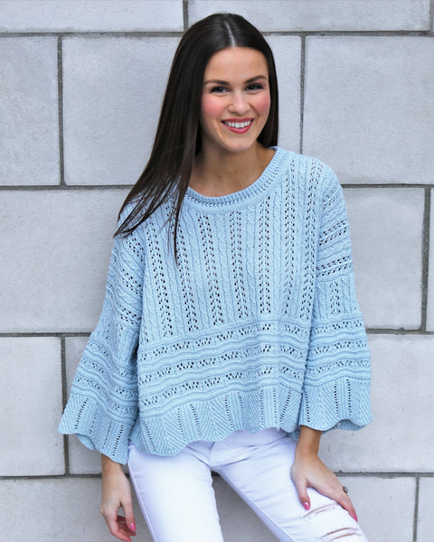 Scalloped Edge Spring Sweater
