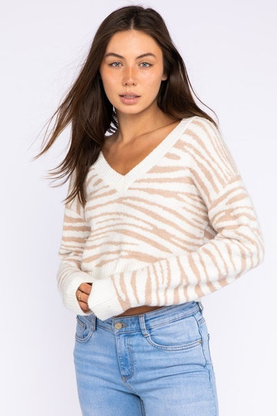 Zebra Cream V-Neck Sweater