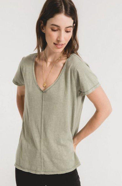 Sage Green Relaxed V-Neck