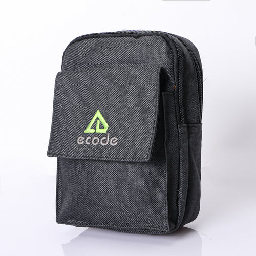 MPO-06(BLACK) 2 Zippered 1 Flap Compartment Pouch