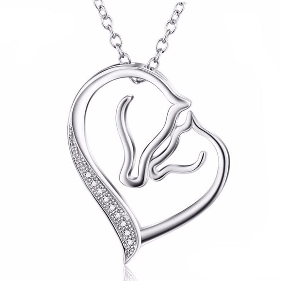 collier argent 925 cheval