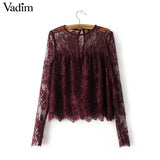 Women vintage transparent wine lace shirts